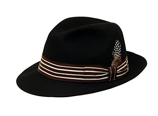 b4b9a1d155b Image Unavailable. Image not available for. Colour  Men s Black Wool Trilby  Fashion Fedora Chicago Hat