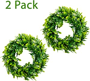 Bhappy Small Boxwood Wreath 10 inch with Fruits Small Artificial Greenery Wreath Mini Centerpiece Wedding Window Home Wall Indoor Front Door Party Festival Farmhouse Kitchen Decor 2 Pack