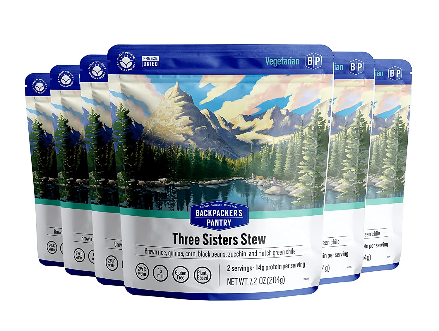 Backpacker's Pantry Three Sisters Stew | Freeze Dried Backpacking & Camping Food | Emergency Food | 28 Grams of Protein, Vegan, Gluten-Free | 6 Count