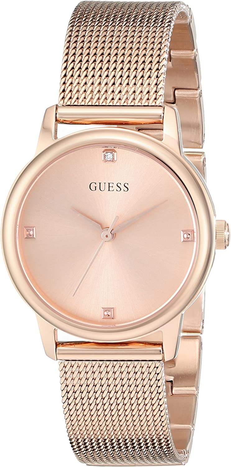 GUESS Women's Stainless Steel Diamond Dial Mesh Bracelet Watch