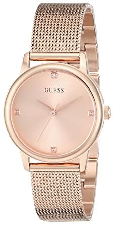 8fc8a4639e9f GUESS Genuine Diamond Dial Rose Gold-Tone Mesh Bracelet Watch. Color  Rose  Gold