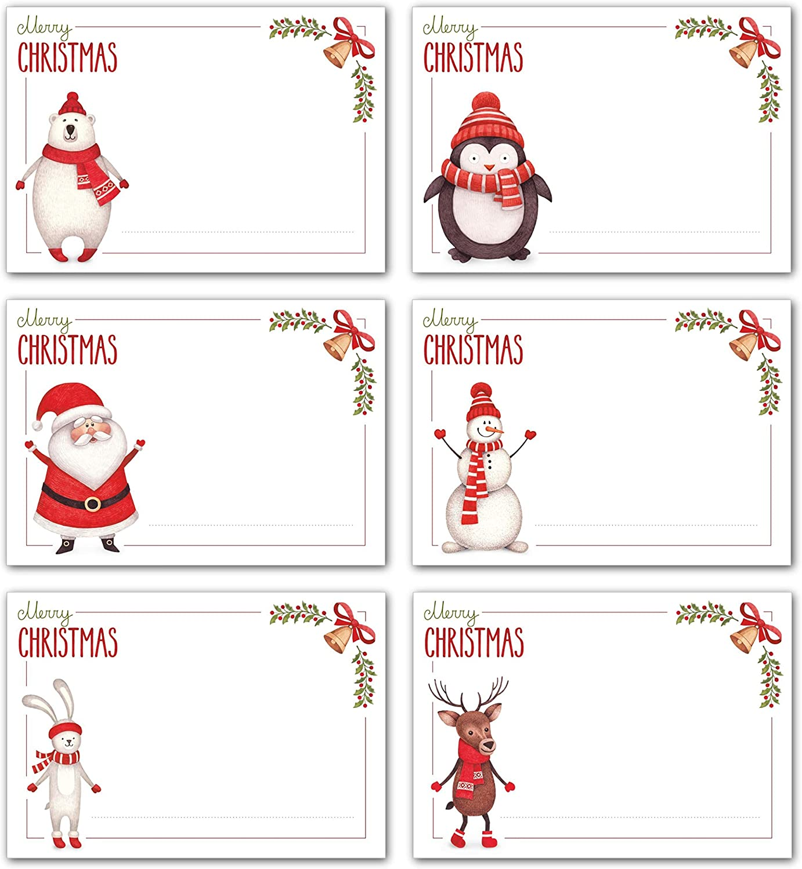 Weihnachten Etiketten Aufkleber zum Beschriften Basteln f/ür Geschenk Verpackung Dekoration Weihnachtsaufkleber Geschenkaufkleber 300 Selbstklebend Weihnachtsanh/änger Aufkleber Rolle mit 6 Muster