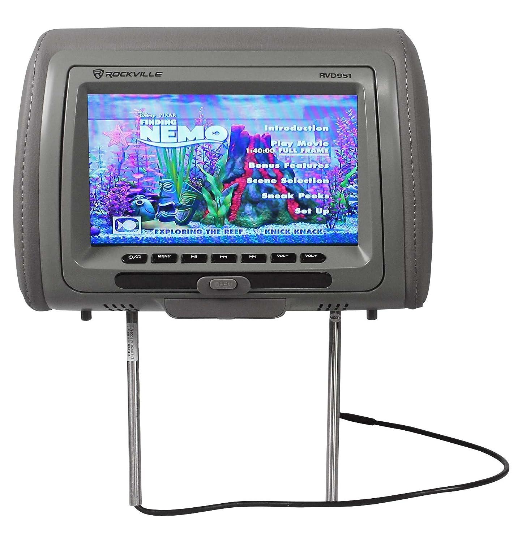 "Rockville RVD951-GR 9"" Gray Dual DVD/USB/HDMI/SD Car Headrest Monitors + Games"