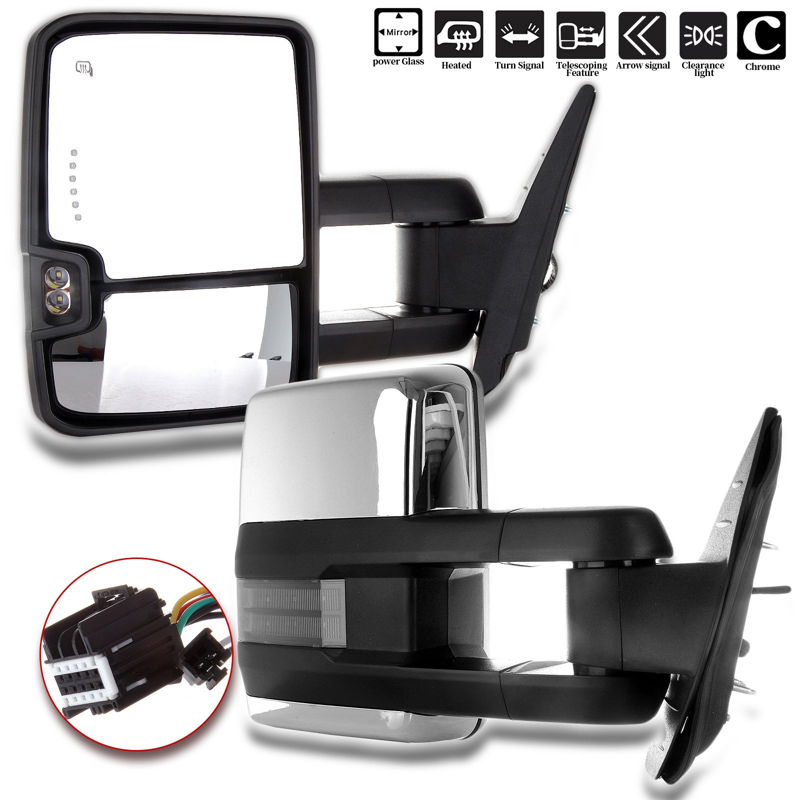 ECCPP fit Chevy Towing Mirrors, GMC Power Heated LED Turn Arrow Signal Lights Reverse Lights Tow Mirrors, for 2008-2013 Chevy Silverado GMC Sierra All Models, 2007 Silverado Sierra New Body Style by ECCPP