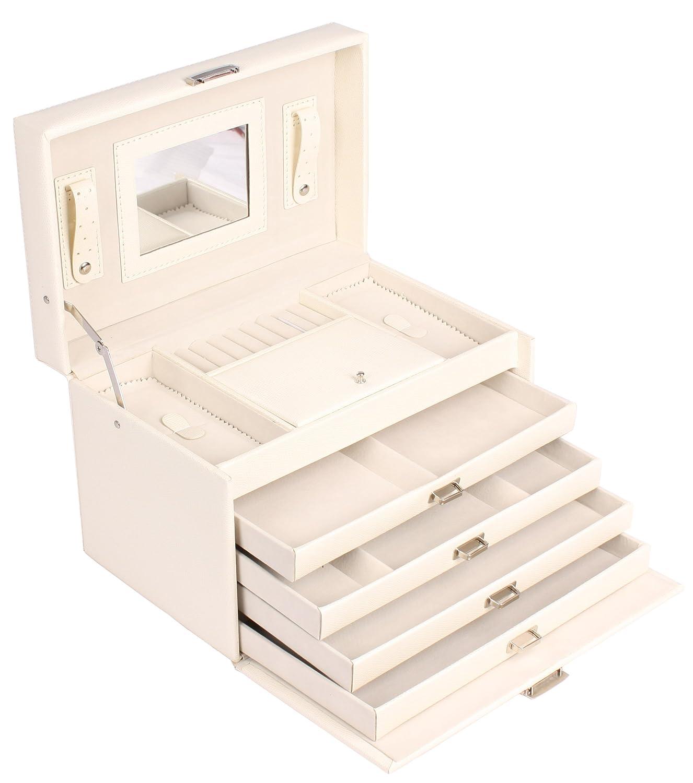 Scrigno portagioie/portagioie gioielli scatola portagioie 4scomparti in similpelle Bianco Sell-tex 1405
