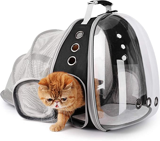 Lollimeow Pet Carrier Backpack - Expandable Transparent Backpack Pet Carrier