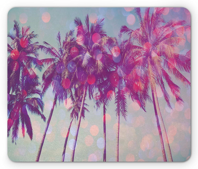 Ambesonne Nature Mouse Pad, Palm Trees Hawaiian Tropic Seashore Beach Californian Miami Sunbeams Image, Standard Size Rectangle Non-Slip Rubber Mousepad, Fuchsia Purple Green