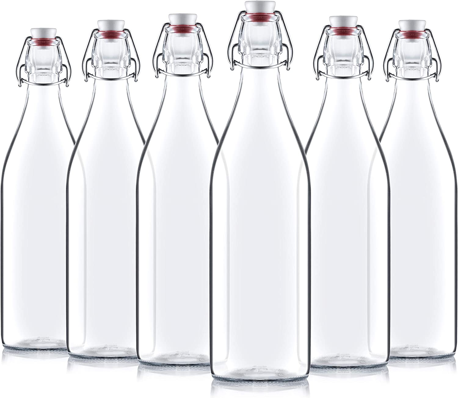 Giara Swing Top Bottles 33 ¾ Ounce/1 Liter (6 Pack) ROUND Clear Glass Grolsch Flip Top Bottle With Stopper, for Beverages, Smoothies, Kefir, Beer, Soda, Juicing, Kombucha, Water, Milk, Oil and Vinegar: Kitchen & Dining