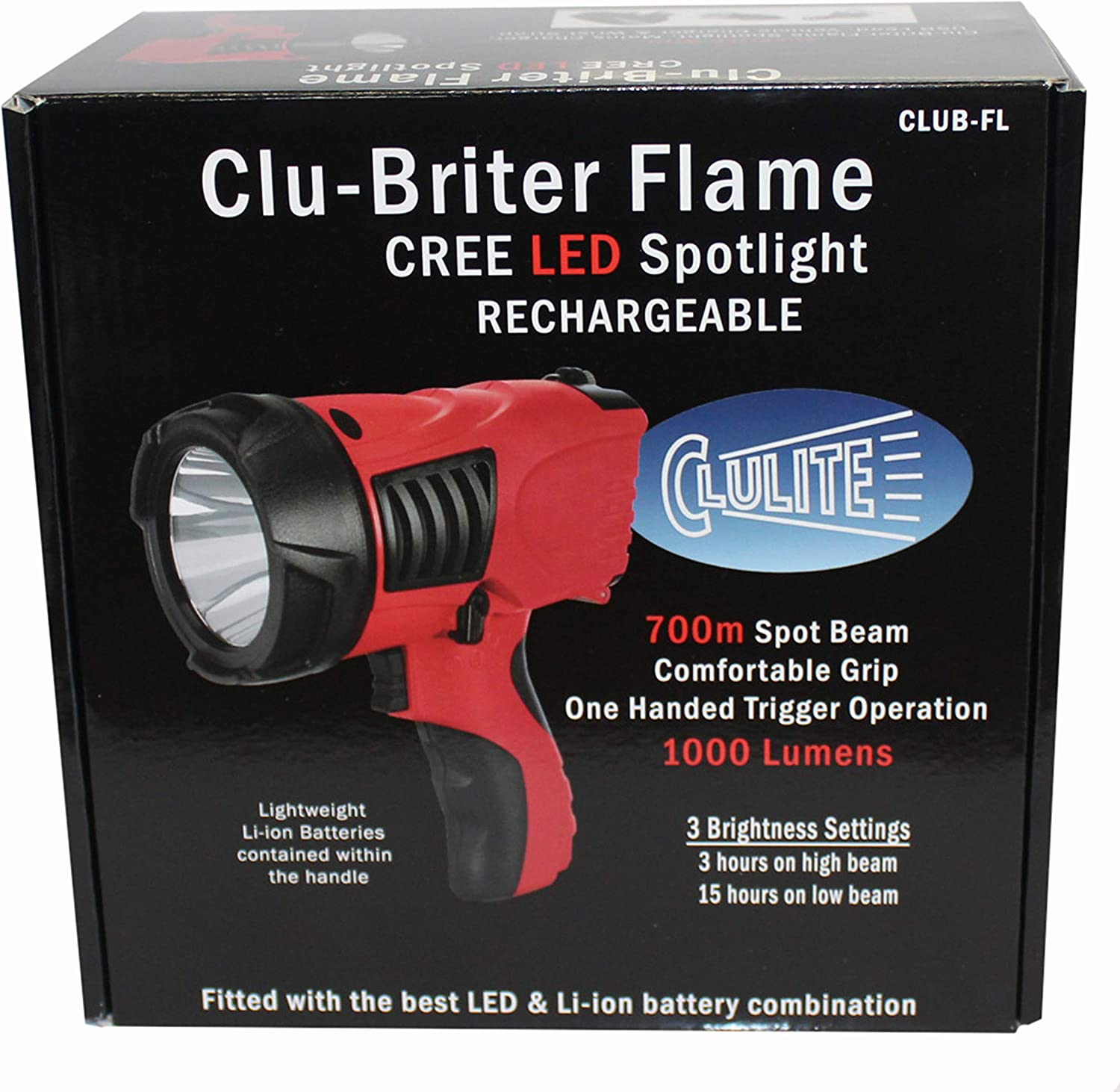 Clulite Clu-Briter FLAME 1000 Lumen 700m LED USB /& Car Rechargeable Torch