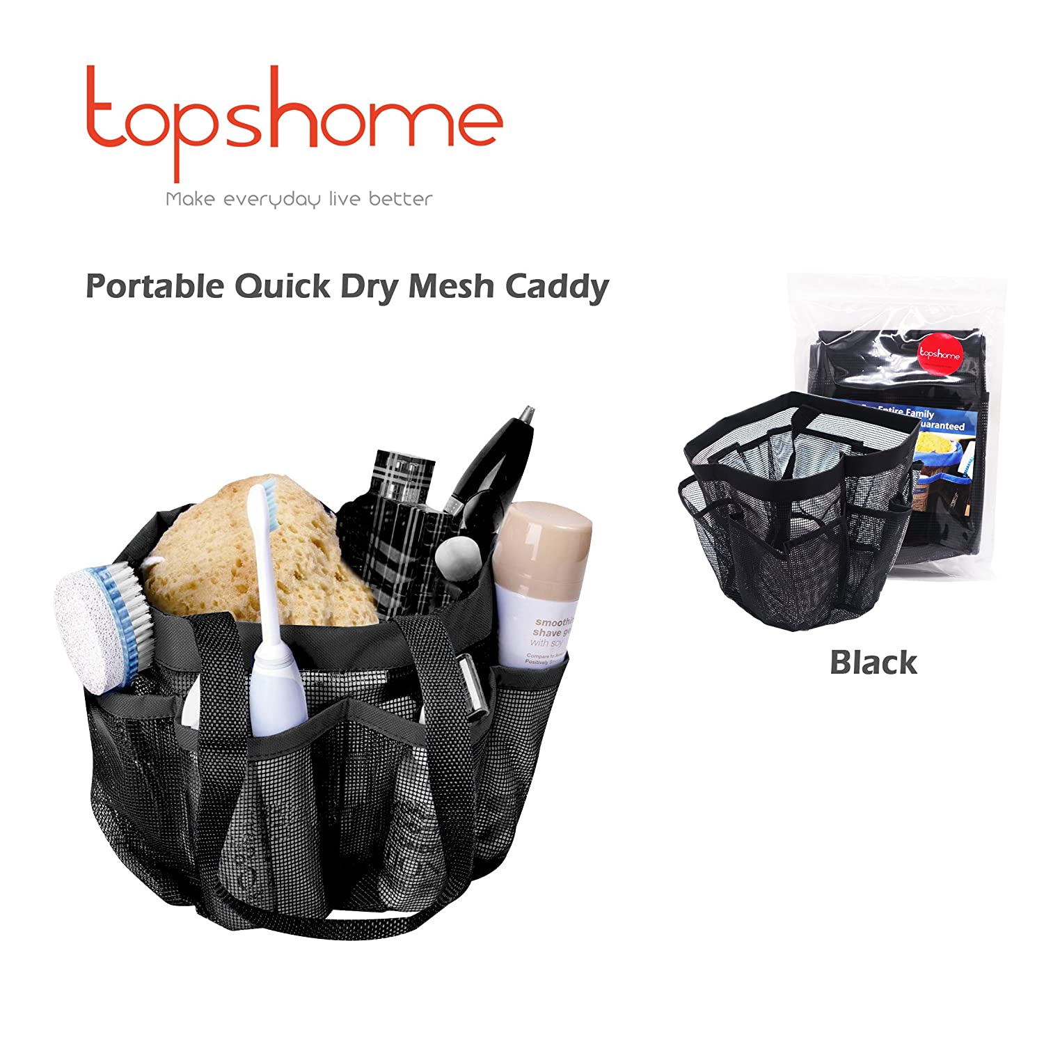 Mesh Hanging Shower Caddy, Quick Dry Bath Tote with 8 Storage Compartments, Shower Tote, Mesh Shower Bag, Perfect for Gym, Camp, Travel Portable Tote Bag, Black
