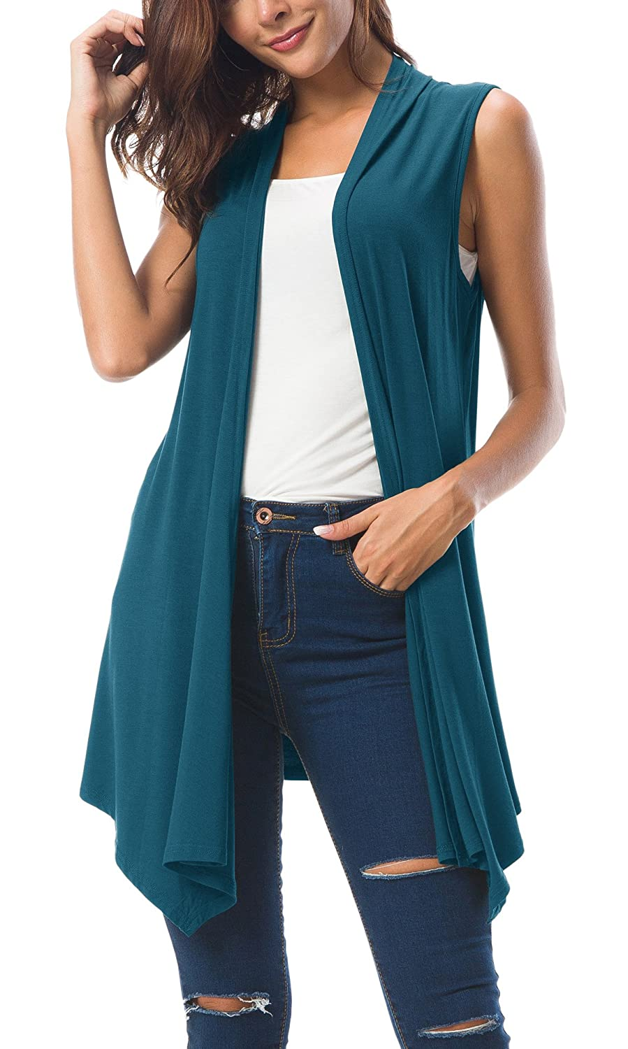 Urban CoCo Women's Sleeveless Draped Open Front Cardigan Vest Asymmetric Hem