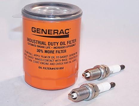 Generac Filtro de aceite 070185e/070185es y Universal generador partes Bujías 491055t-u/
