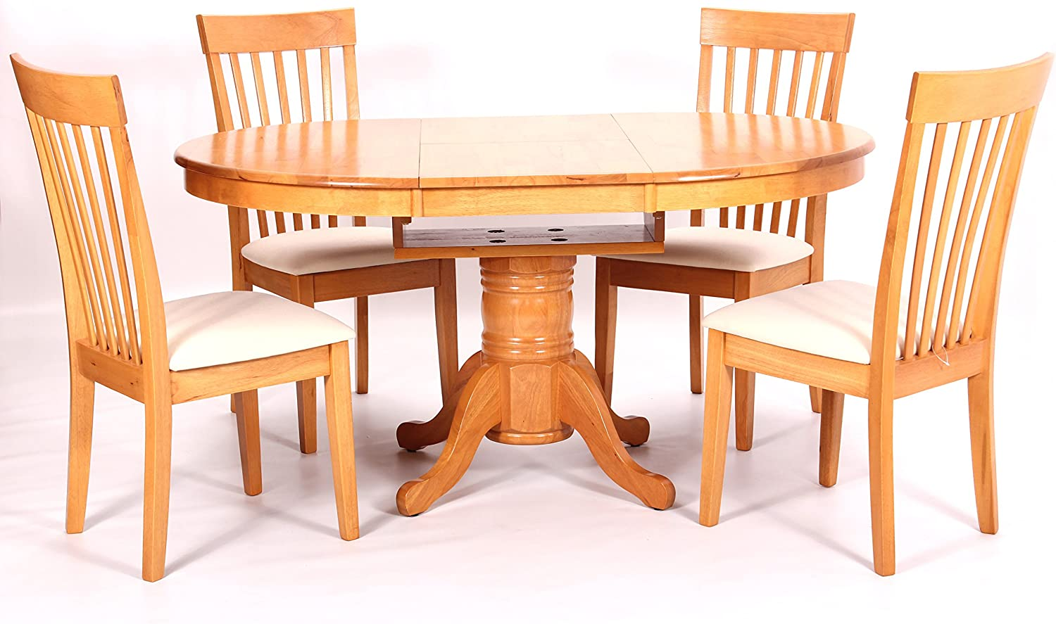Greenheart Furniture Uk Ireland Leicester Oval Round Extending Pedestal Dining Table 4 Chairs Amazon Co Uk Kitchen Home