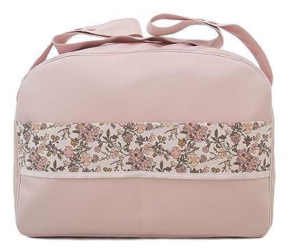 Maxi bolso para carrito de bebé en ecopiel impermeable. Modelo Floral rosa