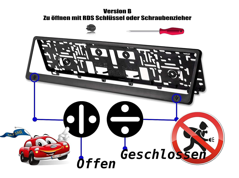 AMZ CAR Support de plaque dimmatriculation anti-vol Premium