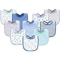 Luvable Friends Babero de algodón para bebé, 10 unidades, diseño de elefante/estrellas, talla única