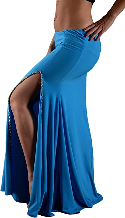 Falda oreja derecha en lycra de danza oriental – turquesa dorada ...