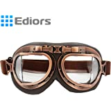 Ediors® Vintage Style WWII RAF Pilot Flying Motorcycle Biker Motocross Cruisers Sun UV Wind Eye Protect Helmet Goggles (Copper Frame, Clear Lens)