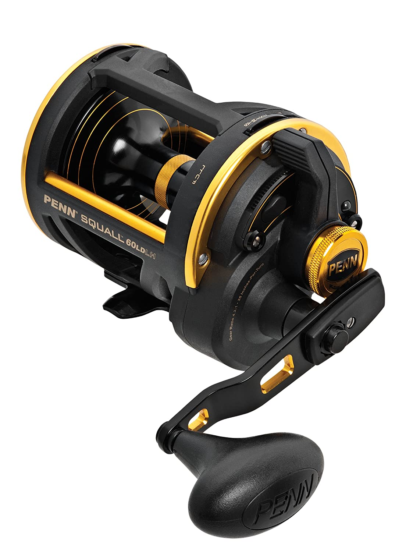 yellow 75kg Penn Squall Lever Drag SQL 60 LD LH Linkshand Multirolle bespult mit 450m Power Pro Schnur 0,56mm gelb
