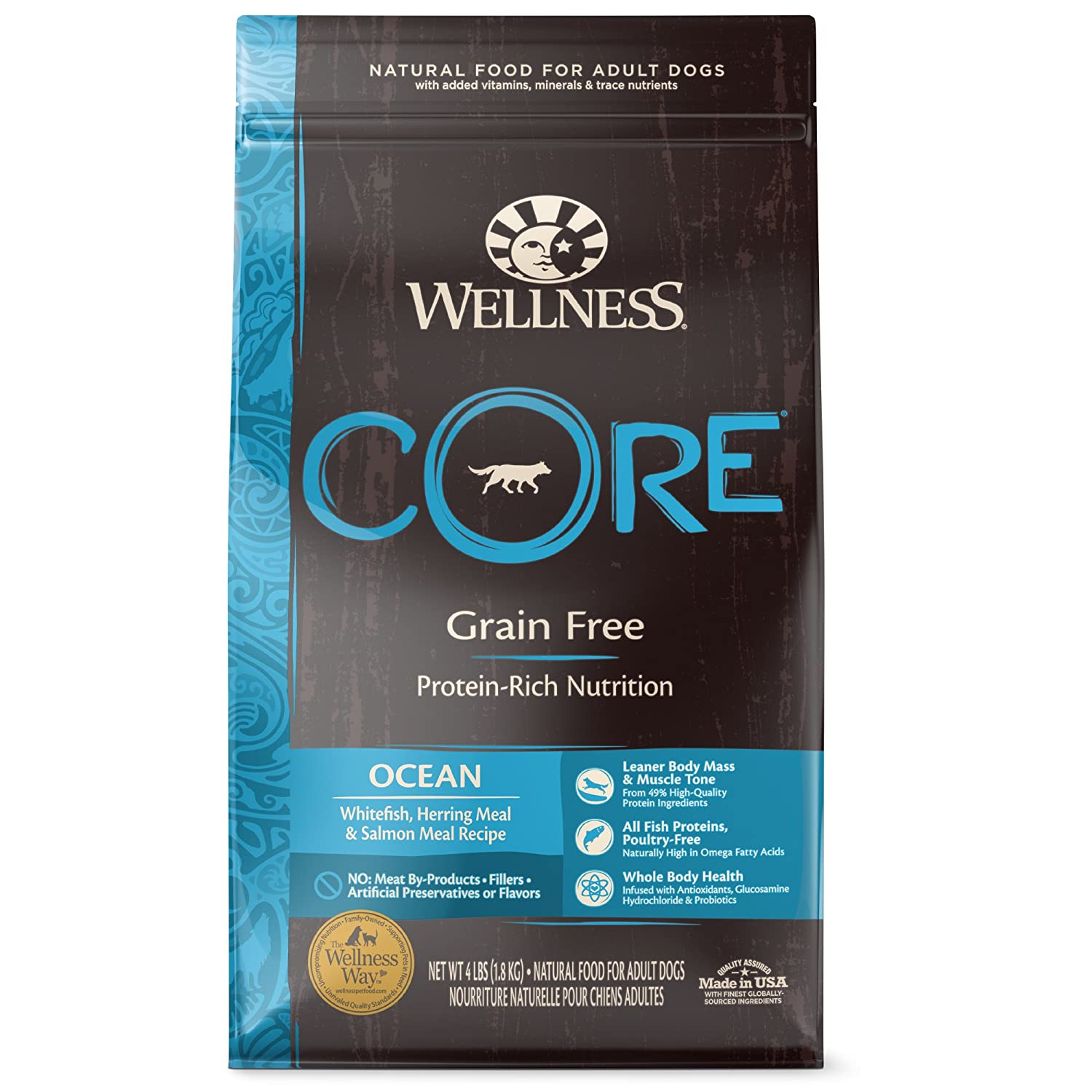 4-Pound Bag Wellness CORE Natural Grain Free Dry Dog Food, Ocean Whitefish, Herring & Salmon, 4-Pound Bag
