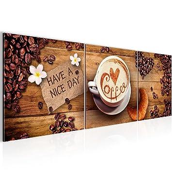 Wandbild Küche Kaffee Bilder 120 x 40 cm Vlies - Leinwand Bild XXL ...