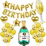 Termichy Globos Metalicos Globos de Cumpleaños de 41 Piezas con Botella de Cerveza y Copa de Vino