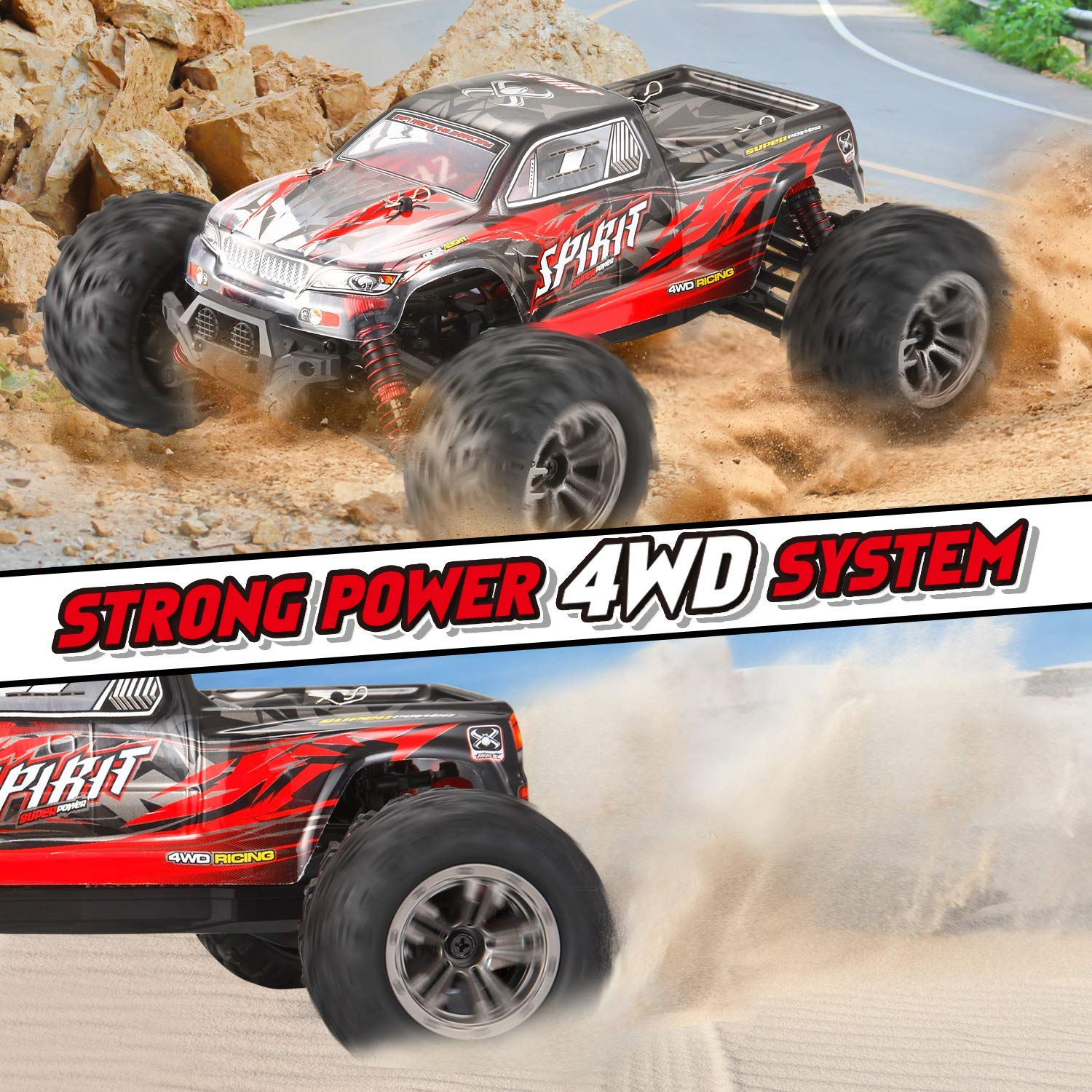 VATOS Remote Control Car High Speed Off-Road Vehicle 1:16 Scale 36km/h 4WD 2.4GHz Electric Racing Car RC Buggy Vehicle Truck Buggy Crawler Toy Car for Adults and Kids by VATOS (Image #5)