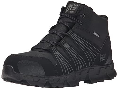 af77510d Timberland PRO Men's Powertrain Mid Alloy Toe ESD Industrial Hiking Boot,  Black Synthetic, 7