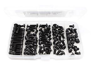 iExcell 100 Pcs M5 x 8/10/12/16/20 mm 10.9 Grade Alloy Steel Hex Socket Button Head Cap Screws Bolts Assortment Kit