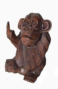6 Inch Rude Monkey Flipping The Bird Middle Finger Wooden Statue WorldBazzar Brand