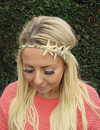 3fcc17858f5209 Echt Seestern Haarband Kopfbedeckung Meerjungfrau Stirnband Krone creme  Leaf Boho Ariel 1988 Stil der Zwanzigerjahre