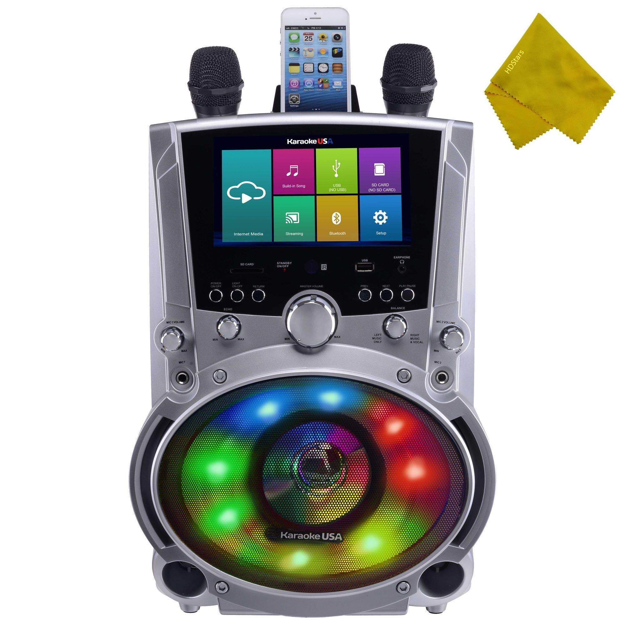 WiFi Bluetooth Karaoke System, 7'' Color Touch Screen, and Record Function