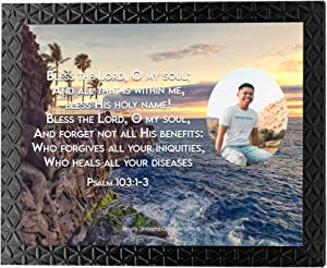 Personalized Picture Photo Custom Your Text Framed with Bible Verse Psalm 103:1-3 Wall Decor Christian Gift Father Mother Love Faith Hope Words of Encouragement (8X10 [Your Photo Here], Frame D (Black))