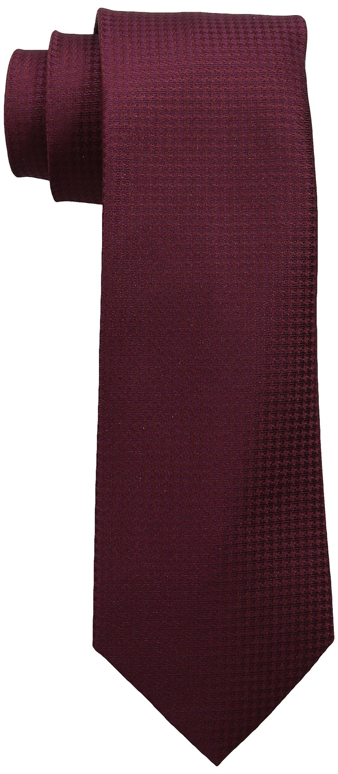 Calvin Klein Men's HC Modern Gingham Tie, Burgundy, One Size