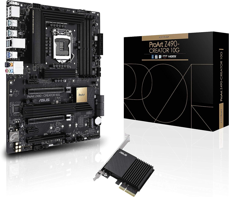 ASUS ProArt Z490-CREATOR 10GIntel Z490 LGA 1200 ATX Content Creation Motherboard (12+2 Power Stages, DDR4 4600, 10G LAN Card, 2.5G Intel LAN, Thunderbolt 3 Type-C, M.2, USB 3.2 Gen 2)