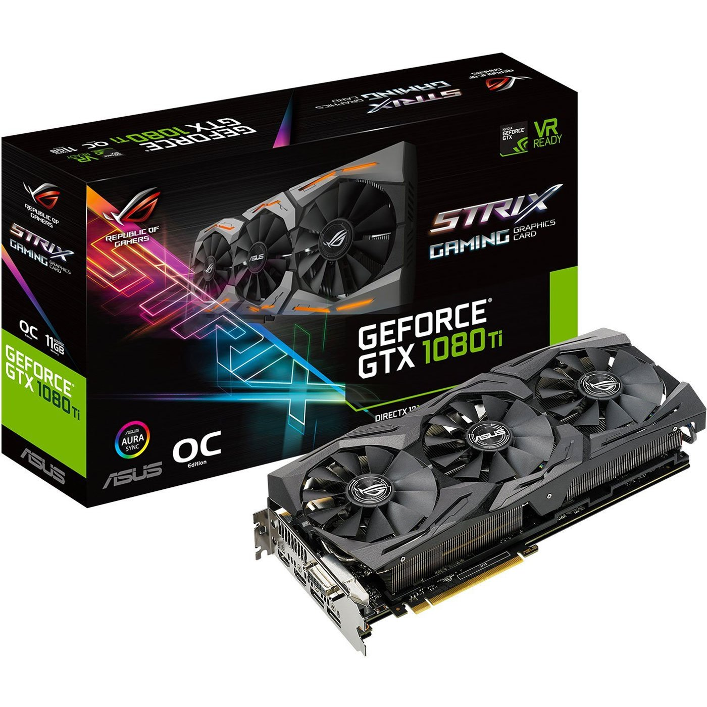ASUS ROG-STRIX-GTX1080TI-O11G-GAMING GeForce 11GB OC Edition VR Ready 5K HD Gaming HDMI DisplayPort DVI Overclocked PC GDDR5X Graphics Card by Asus
