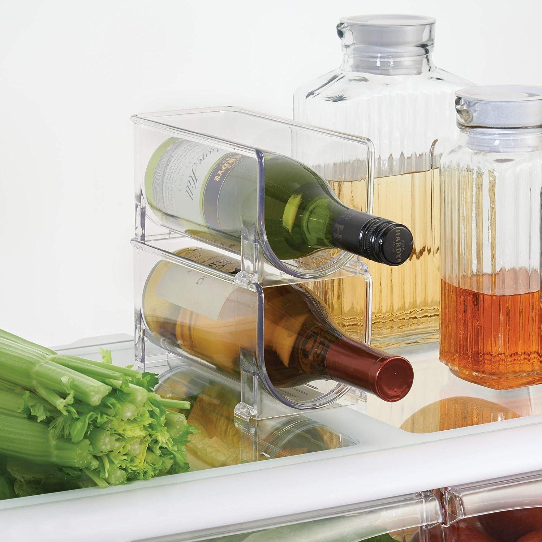 mDesign Soporte para botellas de vino apilable - Botellero para vinos con capacidad para 4 botellas - El accesorio de cocina imprescindible - Transparente: ...