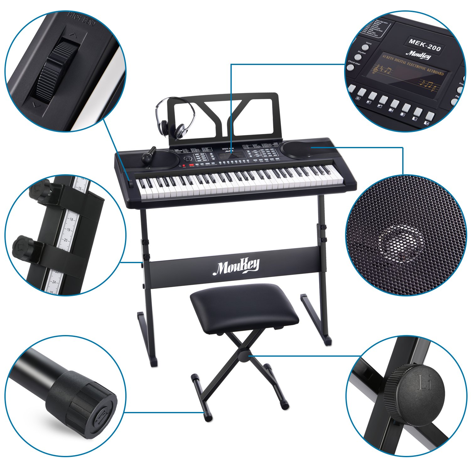 Moukey MEK-200 Electric Keyboard Portable Piano Keyboard Music Kit with Stand, Bench, Headphone, Microphone & Sticker, 61 Key Keyboard, Black by Moukey (Image #8)