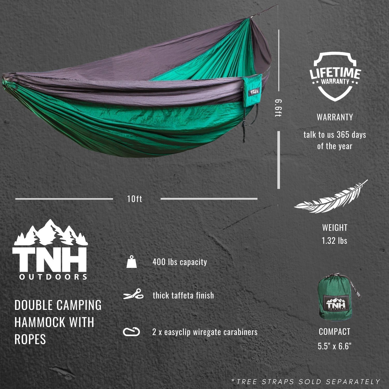 TNH Outdoors Double Single Camping Hammocks – Lightweight Nylon Portable Hammock, Best Parachute Hammock for Backpacking, Camping, Hiking, Beach with Free Heavy Duty Carabiner Clips