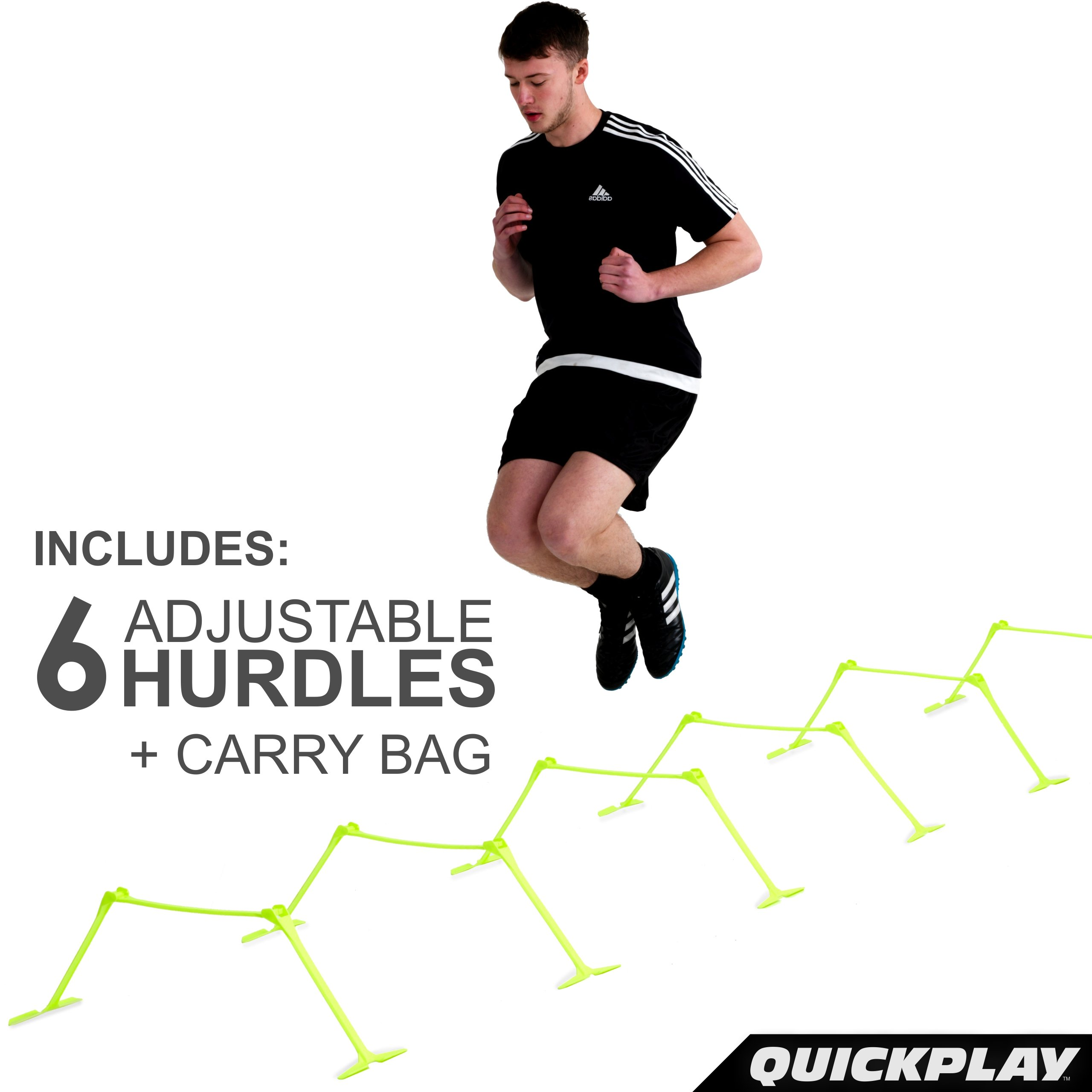 QuickPlay PRO Adjustable Height: 6'', 9'' + 12'' All-in-One Speed Hurdles (Set of 6) Speed Training Hurdles, Agility Hurdles and Plyometric Hurdles by QuickPlay (Image #3)