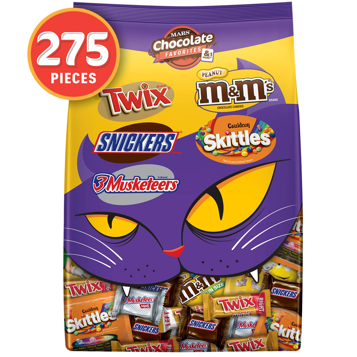 M&M'S Peanut, SNICKERS, TWIX, 3 MUSKETEERS & SKITTLES Cauldron Halloween Candy Variety Mix, 96.12-Ounce Bag. 275 Pieces by Mars