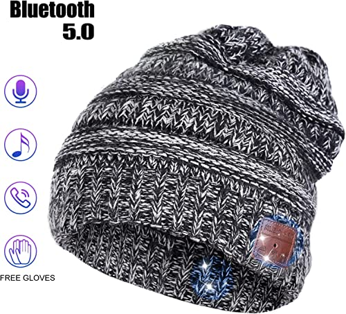 Bluetooth Beanie Hat, Stocking Stuffers for Men Women Husband Birthday Gifts for Boyfriend Bluetooth Music Hat with Headphones Built-in Stereo SpeakerGray-Women