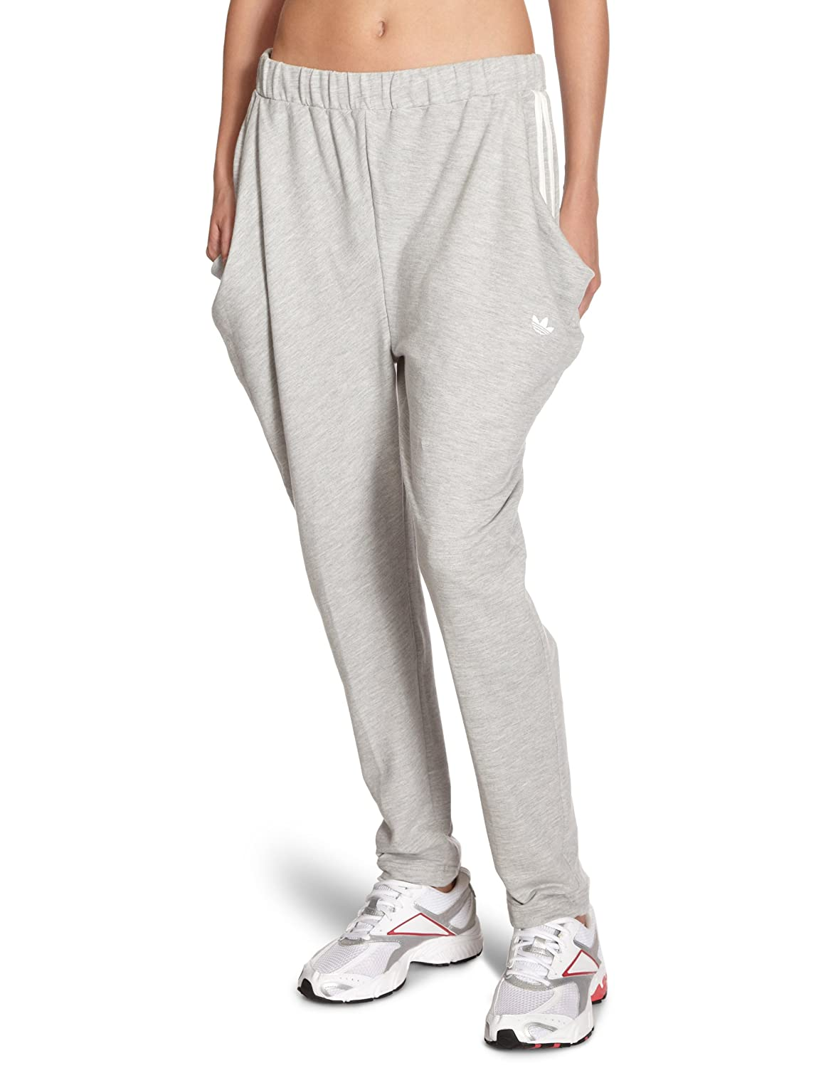 a67380ff1 adidas Track Women's Low Crotch Jogging Bottoms medium grey heather/running  white Size:34: Amazon.co.uk: Sports & Outdoors