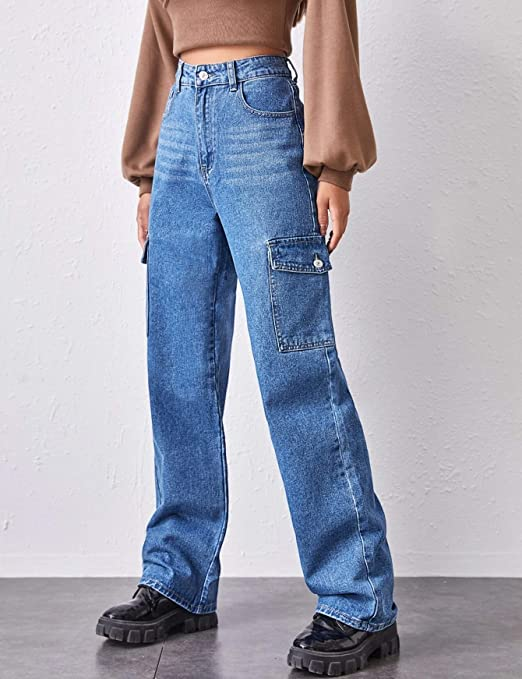 Ugerlov Women S High Waist Flap Pocket Side Baggy Jeans Relaxed Fit Casual Straight Stretch Wide Leg Cargo Jean At Amazon Women S Jeans Store