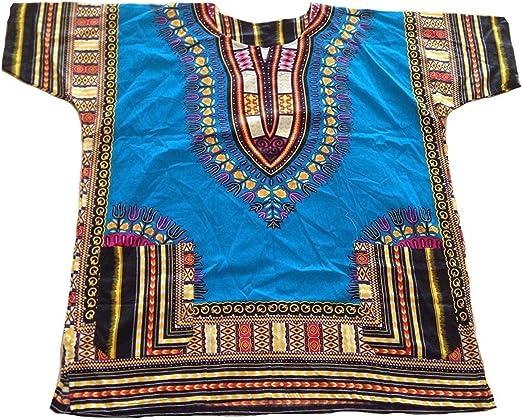 Homes & ----Deco Ropa de Manga Corta Dashiki Festival africano Hippie Poncho Tradicional Camisa mexicana Hombre Kaftan azul azul claro: Amazon.es: Hogar