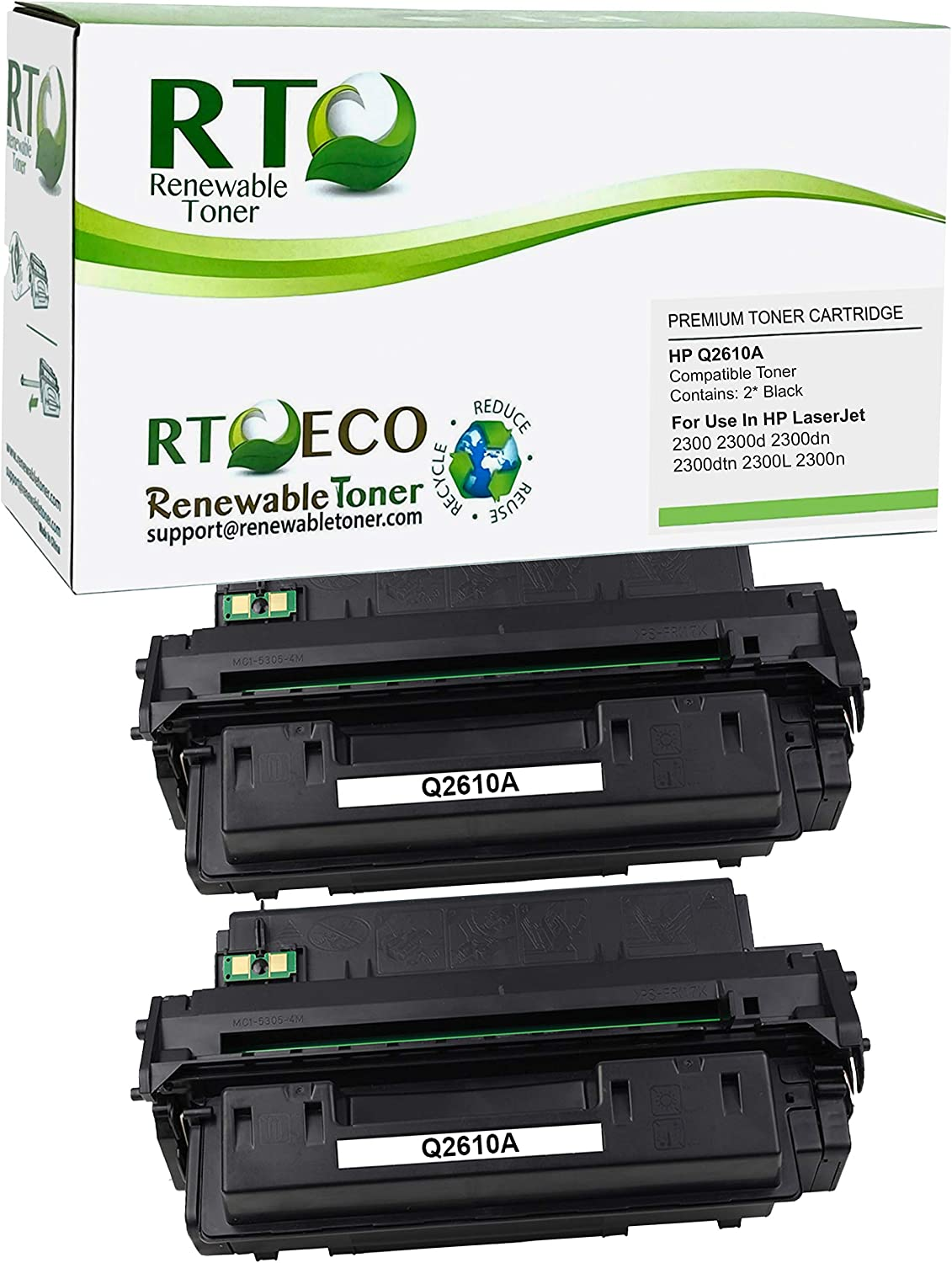 Renewable Toner Compatible Toner Cartridge Replacement for HP 10A Q2610A for Laserjet 2300 2300d 2300dn 2300dtn 2300L 2300n (Black, 2-Pack)