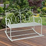 Outsunny 2 Seater Metal Garden Bench Outdoor Rocking Chair w/ Decorative Backrest in A Shabby Chic Finish White