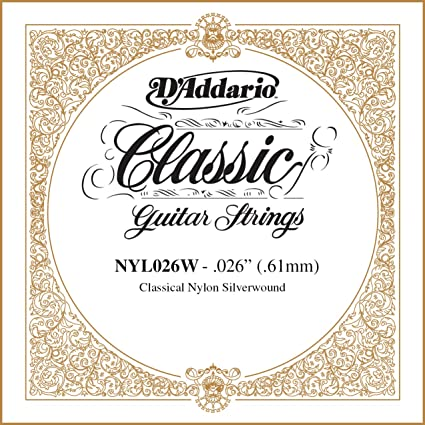 DAddario NYL026W - Cuerda guitarra española.026, plateado: Amazon ...