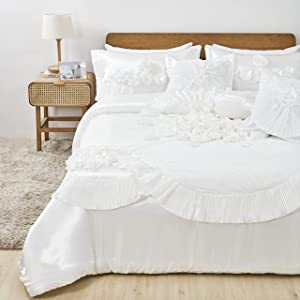 Tache Home Fashion 6Piece Solid Floral Satin Comforter Set, California King, Sweet Victorian White