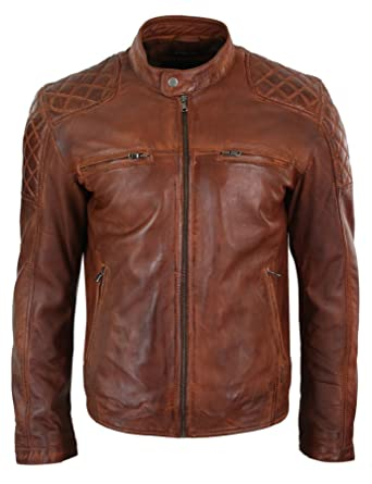 68b873c95 Infinity Mens Real Leather Retro Vintage Tan Brown Zip Biker Racing ...